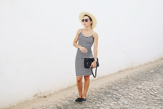 How to wear: black and white horizontal striped tank dress, black espadrilles, black leather crossbody bag, beige straw hat
