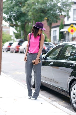 How to wear: hot pink tank, grey dress pants, silver leather pumps, tan leopard clutch
