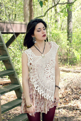 Opt for comfort in a white and red print tank dress and nude crochet sleeveless top.