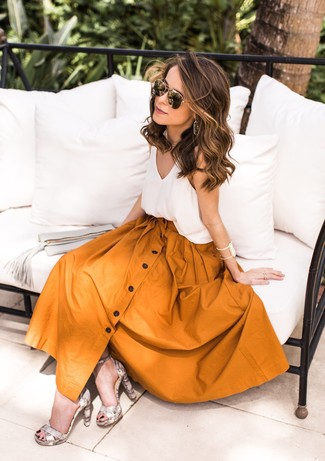 How to wear: white silk tank, mustard full skirt, grey snake leather heeled sandals, black and gold sunglasses