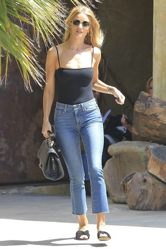 How to wear: black tank, blue jeans, black canvas flat sandals, black quilted leather satchel bag