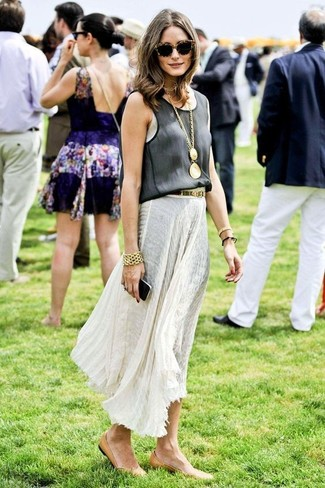 Olivia Palermo wearing Black Tank, White Pleated Maxi Skirt, Tan Leather Ballerina Shoes, Gold Bracelet