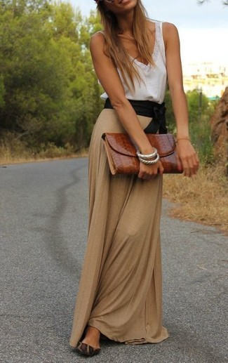 How to wear: white lace tank, tan maxi skirt, brown leopard suede ballerina shoes, tobacco leather clutch