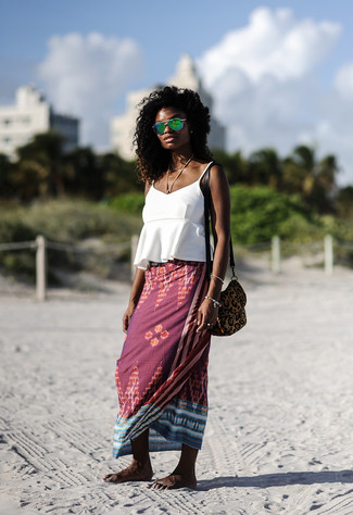 How to wear: white ruffle tank, burgundy print maxi skirt, brown leopard suede crossbody bag, green sunglasses