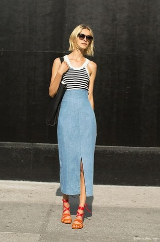 Women's White and Black Horizontal Striped Tank, Light Blue Denim ...
