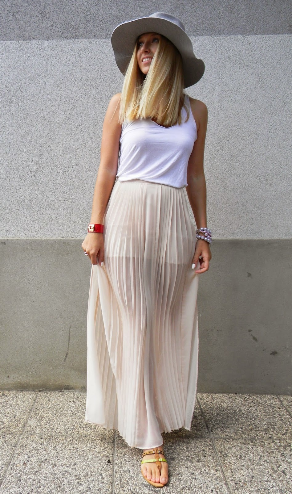Beige Pleated Maxi Skirt | Women's Fashion