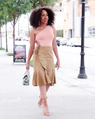How to wear: pink tank, tan pleated midi skirt, tan suede heeled sandals, green leather handbag