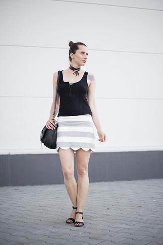 How to wear: black knit tank, grey horizontal striped mini skirt, black leather flat sandals, black leather crossbody bag