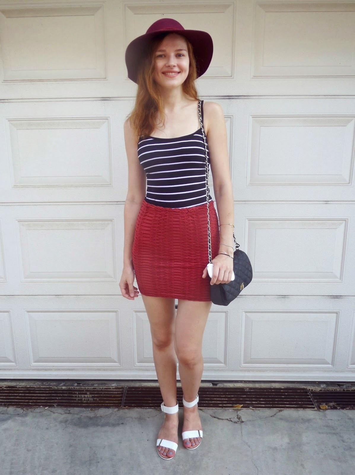 Women's Navy and White Horizontal Striped Tank, Red Mini Skirt ...