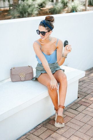 How to wear: light blue tank, white and black gingham mini skirt, tobacco suede wedge sandals, beige quilted leather crossbody bag