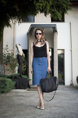Women's Black Tank, Blue Denim Pencil Skirt, Beige Leather Flat Sandals, Black Leather Tote Bag