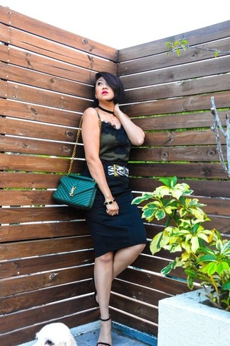 Women's Black Lace Tank, Black Pencil Skirt, Black Suede Heeled Sandals, Green Quilted Leather Crossbody Bag