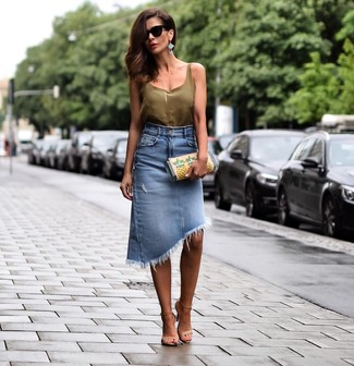 How to wear: olive silk tank, blue denim pencil skirt, beige leather heeled sandals, multi colored print leather clutch