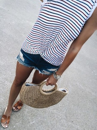 Tan Straw Tote Bag Outfits: Consider wearing a white horizontal striped tank and a tan straw tote bag to put together an interesting and modern-looking off-duty ensemble. Brown leather flat sandals are a simple way to add a dose of refinement to this getup.