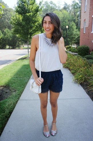 Women's Grey Silk Tank, Navy Lace Shorts, Silver Leather Flat Sandals, White Leather Crossbody Bag