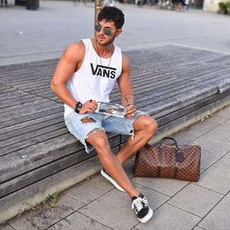 How to wear: white print tank, light blue ripped denim shorts, black and white canvas low top sneakers, brown leather holdall