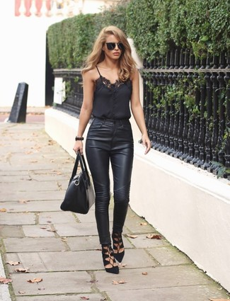 How to wear: black lace tank, black leather skinny jeans, black suede gladiator sandals, black leather satchel bag