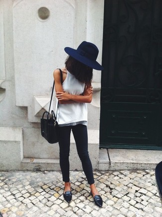 How to wear: white tank, black skinny jeans, black snake leather loafers, black leather crossbody bag