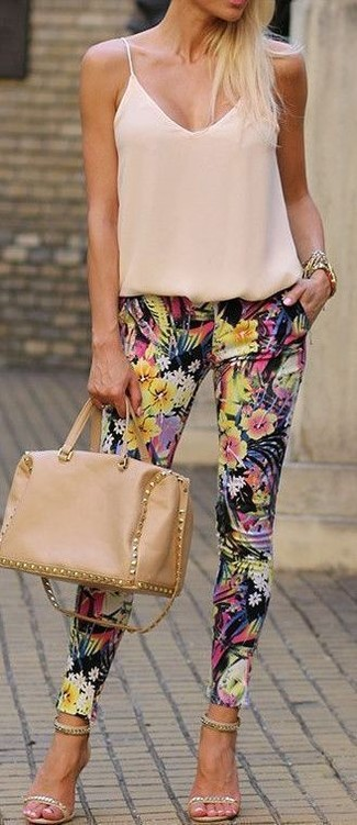 How to wear: beige silk tank, black floral skinny pants, beige embellished suede heeled sandals, tan leather satchel bag