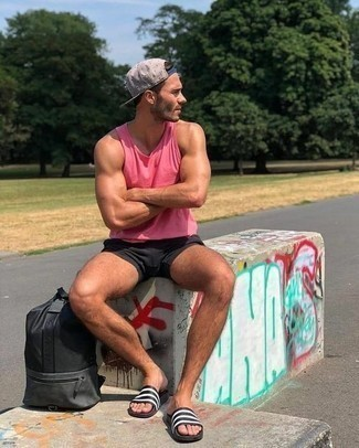 How to Wear a Grey Baseball Cap For Men: For something more on the relaxed end, you can go for a hot pink tank and a grey baseball cap. And if you need to easily play down this look with a pair of shoes, introduce a pair of white and black horizontal striped rubber sandals to your ensemble.