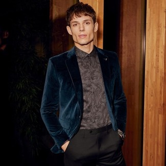 How to wear: teal velvet blazer, black paisley dress shirt, black dress pants, black leather watch