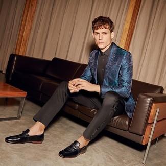 How to wear: teal brocade blazer, black dress shirt, black dress pants, black leather loafers