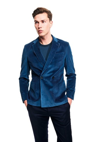 How to wear: teal corduroy double breasted blazer, teal long sleeve t-shirt, navy dress pants