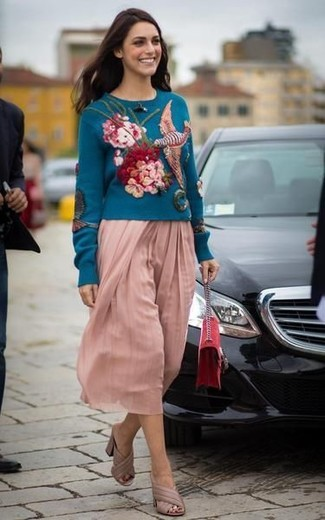 How to wear: teal embroidered crew-neck sweater, pink pleated midi skirt, beige leather mules, red suede crossbody bag