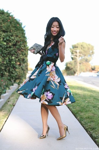 How to wear: teal floral fit and flare dress, gold leather pumps, black and gold leather clutch
