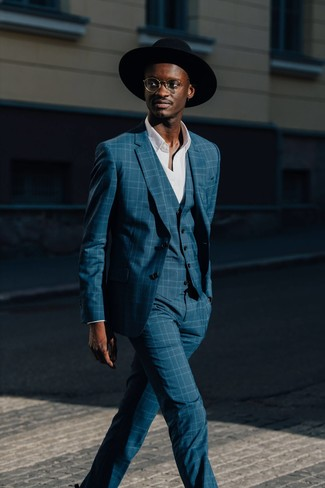 How to wear: teal plaid three piece suit, white long sleeve shirt, black wool hat