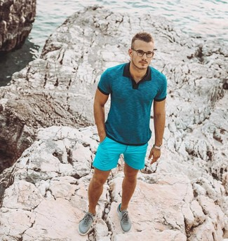 How to wear: teal polo, aquamarine shorts, mint low top sneakers