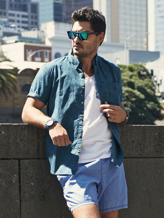 How to wear: teal short sleeve shirt, white tank, light blue shorts