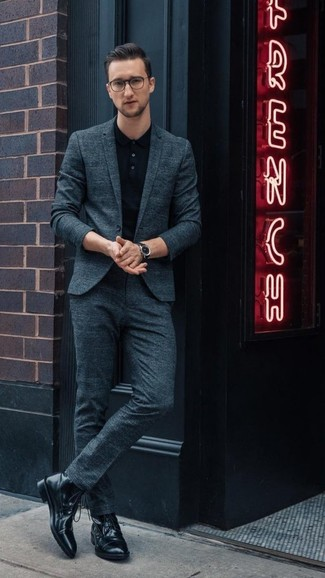 How to wear: teal suit, black polo, black leather casual boots, black leather watch
