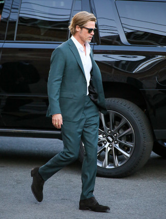 How to wear: teal suit, white dress shirt, dark brown suede derby shoes