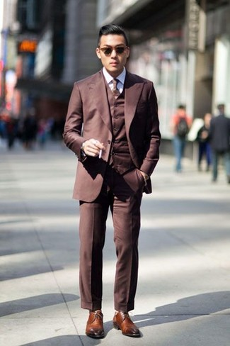 Men's Brown Three Piece Suit, White Dress Shirt, Brown Leather ...