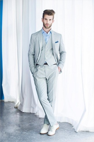 ... Men's Grey Three Piece Suit, Light Blue Dress Shirt, White Leather Derby Shoes,
