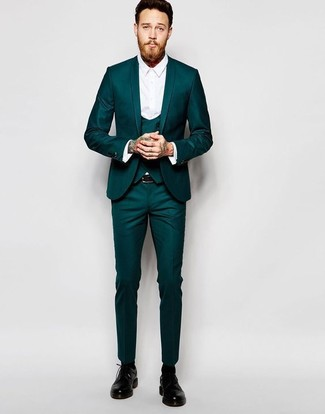 How to wear: teal three piece suit, white dress shirt, black leather derby shoes, black leather belt