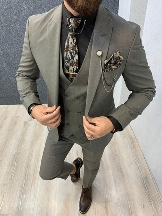 How to Wear a Black Floral Tie For Men: Teaming a grey three piece suit and a black floral tie is a fail-safe way to infuse your styling collection with some manly refinement. If you need to immediately tone down this getup with one single piece, add dark brown leather derby shoes to this ensemble.