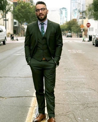 Brown Leather Derby Shoes Outfits: You'll be surprised at how easy it is to get dressed this way. Just a dark green three piece suit and a white vertical striped dress shirt. Go ahead and introduce brown leather derby shoes to the mix for a laid-back feel.
