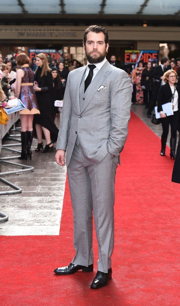 Henry Cavill wearing Grey Three Piece Suit, White Dress Shirt, Black ...