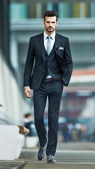 Black and Blue Men's Dress Shirt Suit