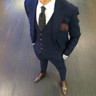 How to wear: navy check three piece suit, white dress shirt, dark brown leather double monks, charcoal polka dot tie