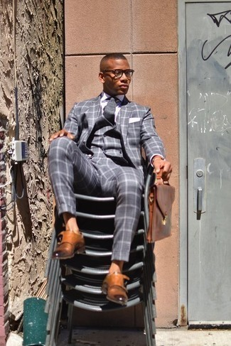 Men's Looks & Outfits: What To Wear In a Dressy Way: Combining a grey check three piece suit and a white dress shirt is a surefire way to infuse rugged refinement into your day-to-day arsenal. For something more on the casual and cool side to complete this look, complete your getup with a pair of tobacco leather double monks.