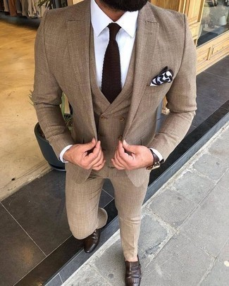Dark Brown Leather Double Monks Outfits: A tan three piece suit looks especially classy when teamed with a white dress shirt. Rounding off with dark brown leather double monks is a surefire way to introduce a more relaxed spin to your ensemble.