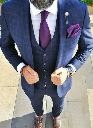 How to wear: navy check three piece suit, white dress shirt, brown leather loafers, purple tie