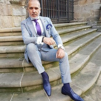 How to wear: grey check three piece suit, white dress shirt, violet leather loafers, violet silk tie