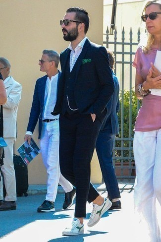 Men's Looks & Outfits: What To Wear Smart Casually: Pair a navy check three piece suit with a white and navy polka dot dress shirt and you'll look like a true style expert. Add white and green canvas low top sneakers to your ensemble to keep the ensemble fresh.