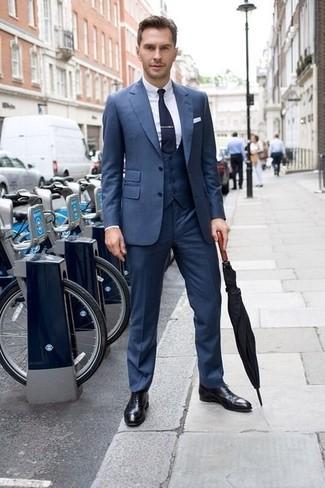 Men's Blue Three Piece Suit, White Dress Shirt, Black Leather