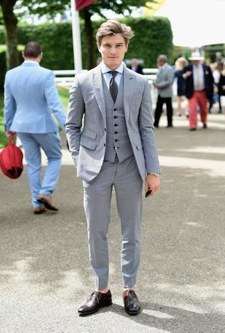 Men's Grey Three Piece Suit, Light Blue Dress Shirt, Dark Brown Leather Oxford Shoes, Charcoal Tie