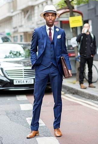 How to Wear a Beige Straw Hat For Men: This combo of a blue three piece suit and a beige straw hat looks amazing and makes you look infinitely cooler. Channel your inner David Beckham and class up your look with tan leather oxford shoes.